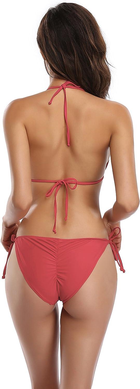 SHEKINI Womens Tie Side Bottom Padded Top Triangle Bikini Bathing Suit