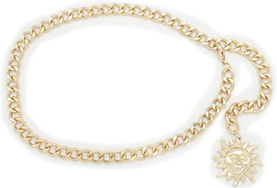 Women Gold Metal Chain Links Fashion Belt Hip High Waist Sun Charm Buckle M L XL