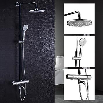 Hausbath thermostatique de salle de bain moderne Chrome Mélangeur  bain/douche robinet anti-brûlure Flexible de douche Pomme de douche Top  Spray ...