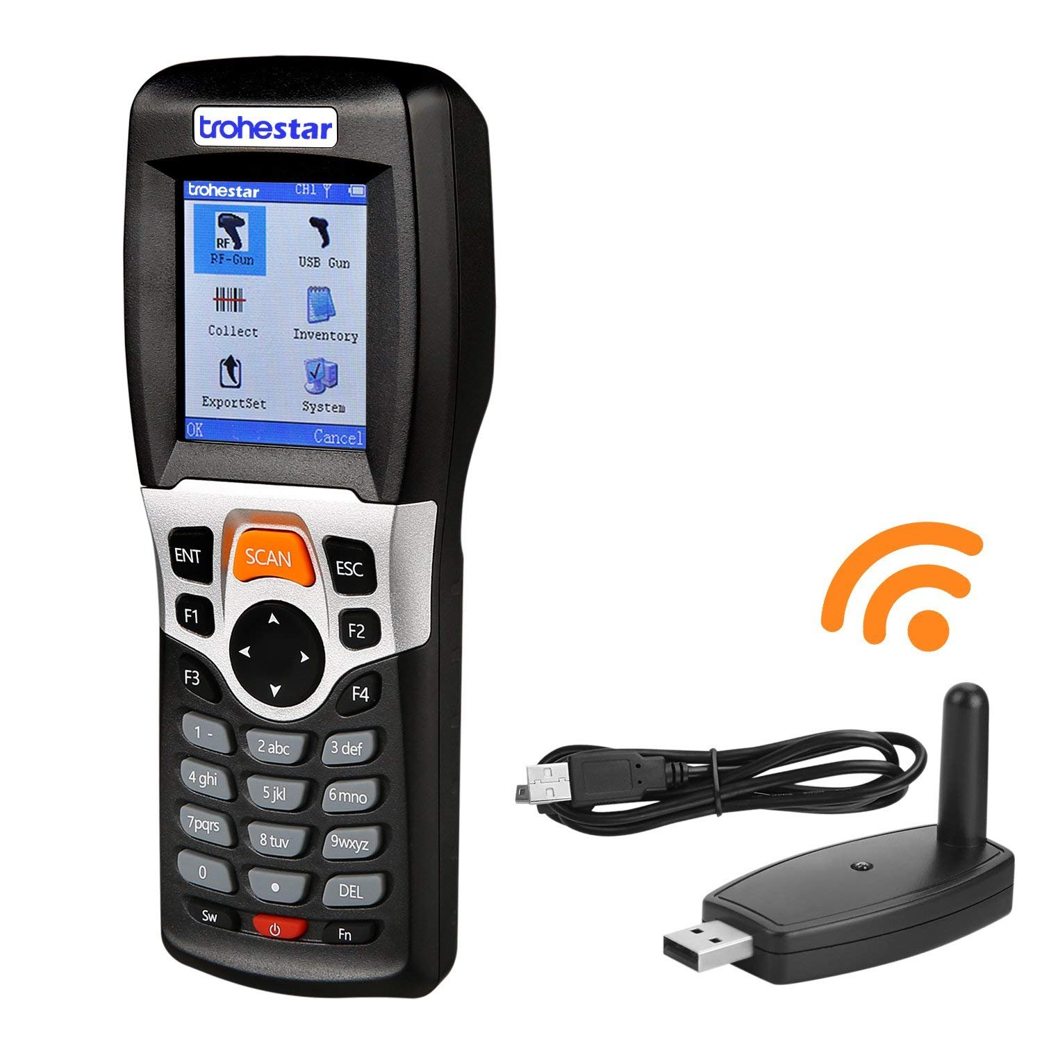TroheStar Wireless Barcode Scanner and Collector Portable Data Terminal Inventory Device USB Barcode Scanner 1D PDT with TFT Color LCD Screen