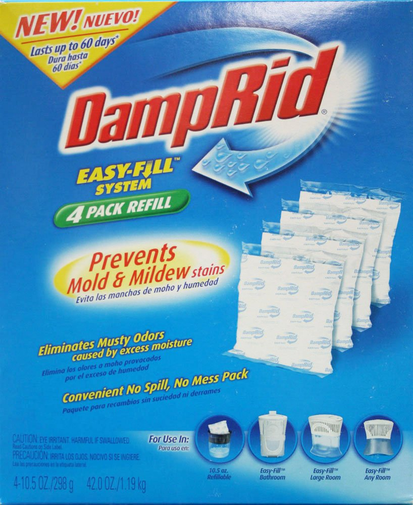 DampRid FG92 Moisture Absorber Easy-Fill System Refill, 4-10.5-Ounce Packets
