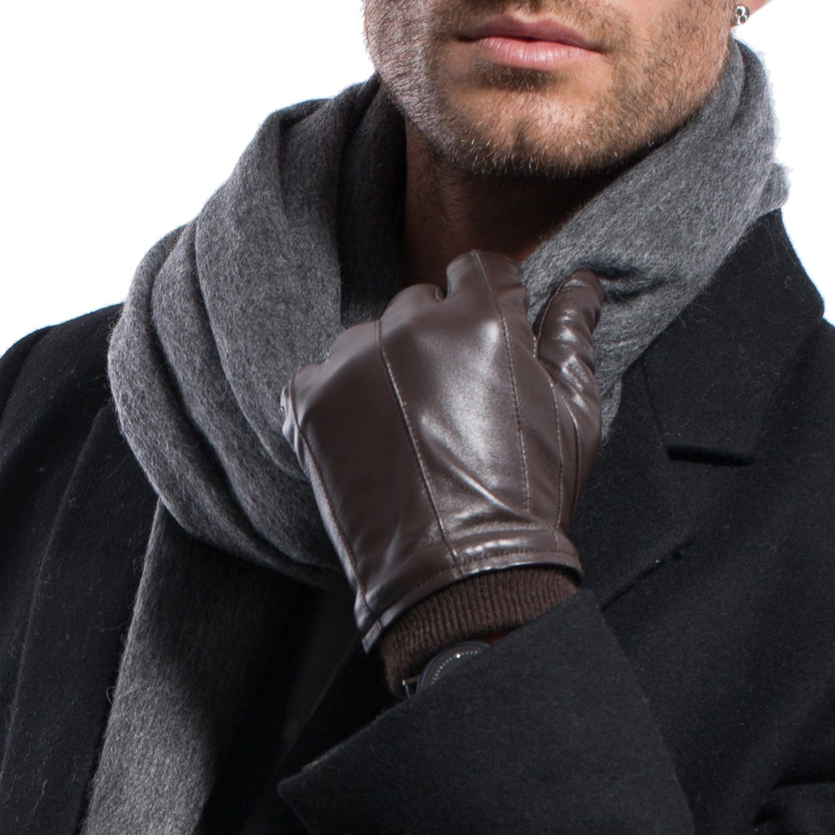 MATSU Men Winter Warm Lambskin Leather with Cuffs Gloves M2002 (xl, Black-TouchScreen)