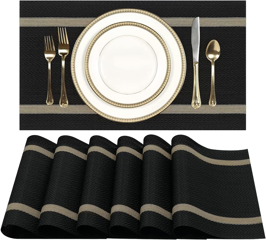Black Vinyl Woven Placemats for Dining Table Set of 6, Wipeable Washable Place Mats Indoor, Outdoor Placemats for Patio Table, Heat Resistant Plastic Table Mats for Thanksgiving Christmas Decor