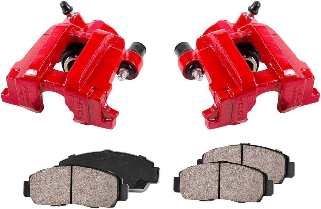 2 Quiet Low Dust Ceramic Brake Pads CCK02411 REAR Performance Red Powder Coated Remanufactured Calipers + 4