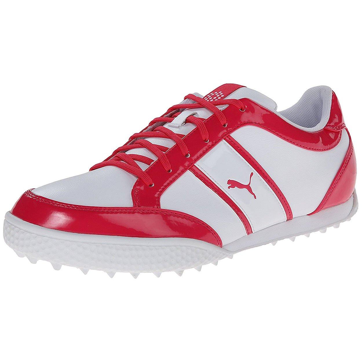 PUMA Women's Monolite Cat Golf Shoe Spikeless, White/Raspberry, 8 M US