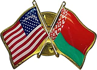 product image for Gettysburg Flag Works Belarus & U.S. Crossed Flags Double Waving Friendship Lapel Pin - Proudly Made in The USA