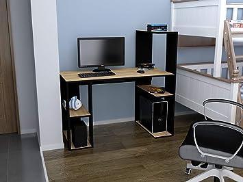 Rafline bureau design likaple motif bois chene vieilli et noir