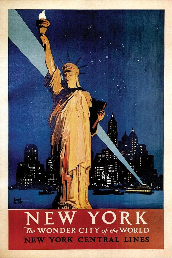 New York The Wonder City Vintage Travel Cool Wall Decor Art Print Poster 24x36