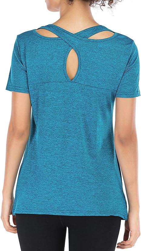 Amazon.com: Camisas de yoga de manga corta para mujer con ...
