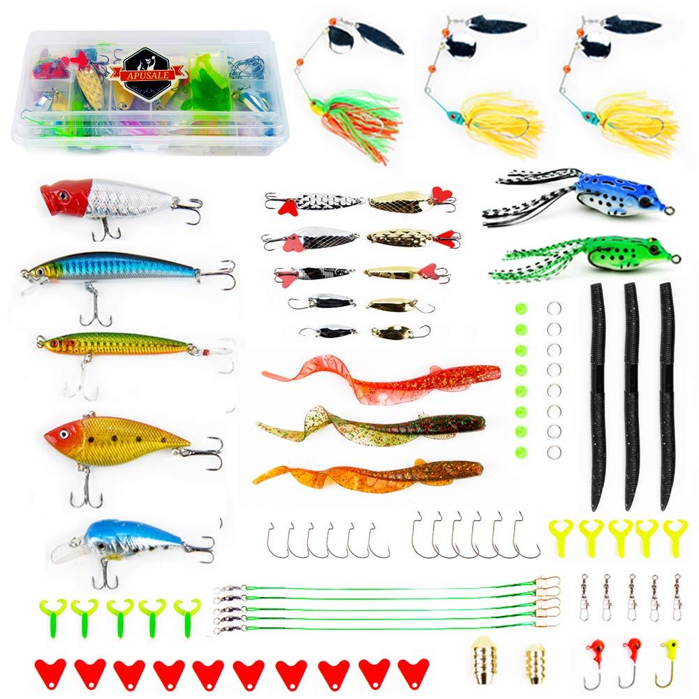 APUSALE 釣りルアーキットセット バス/トラウト/サーモン用 スプーンルアー/ソフトプラスチックワーム/クランクベイト/ジグ/トップウォータールアー/その他の釣り用具 タックルボックス付き  Super Fishing Lure Tackle B07P5CQ5M5
