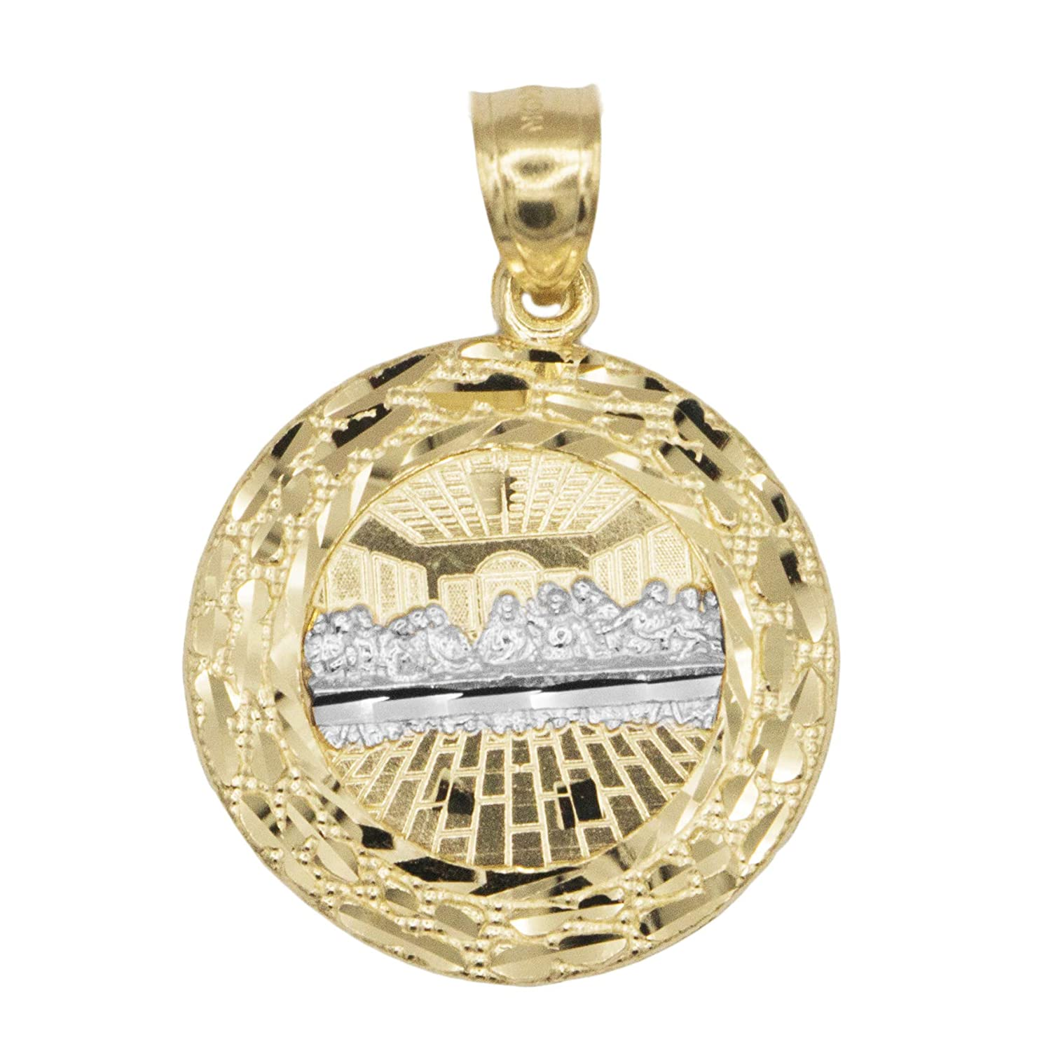 Ice on Fire Jewelry 10k Large Gold Nugget Last Supper Pendant for Men