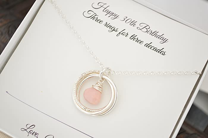 October Birthstone Necklace 30th Birthday Gift For Her