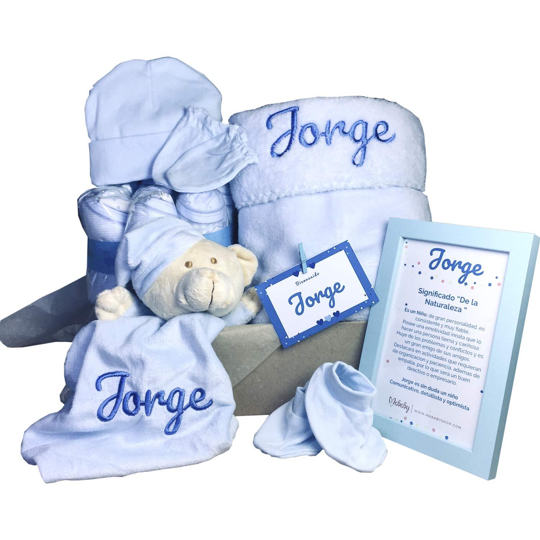 MabyBox Velvet DouDou | Canastilla Bebé Personalizada | Cesta Regalo Recién Nacido | Set Bebe Recién Nacido Personalizado (Azul) product image