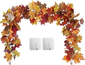 2 Pack Fall Maple Leaf Garland Hanging Fall Leaves Vine Artificial Autumn Foliage Garland Thanksgiving Decor for Home Wedding Party Christmas