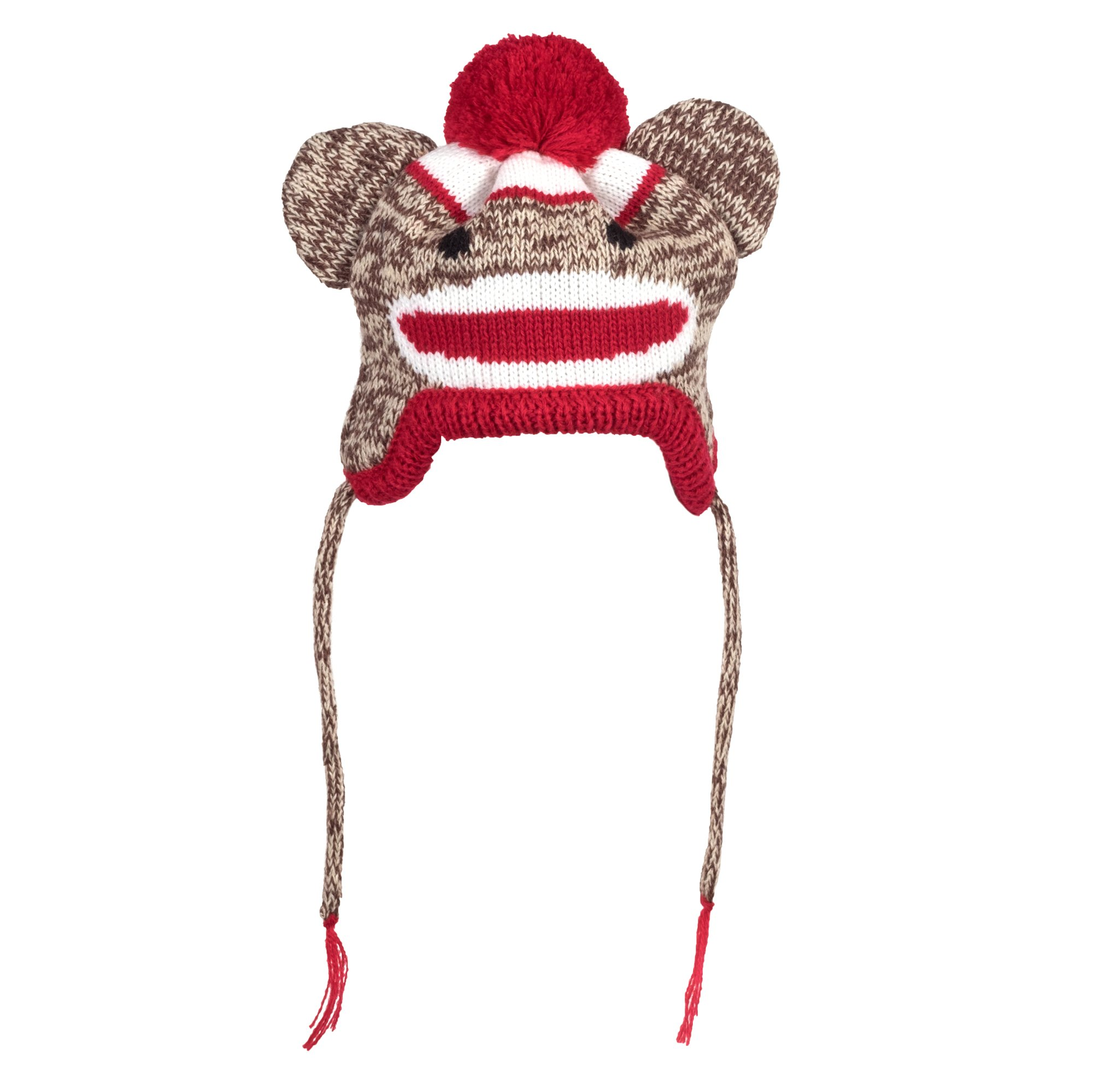 The Worthy Dog Sock Monkey Hat for Dogs, Large, Brown