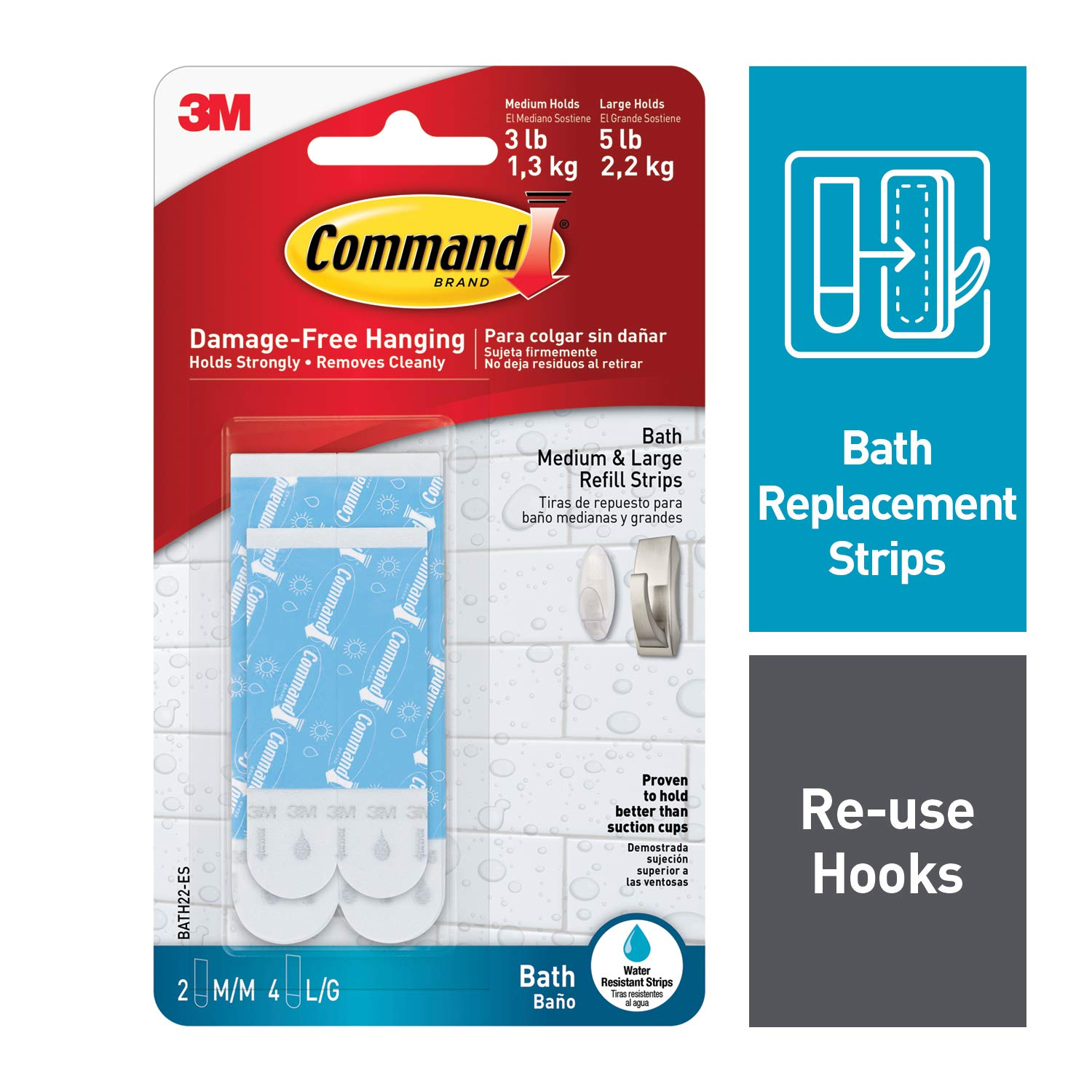Command Assorted Water-Resistant Refill Strips, 2-Medium, 4-Large (Pack of 6)