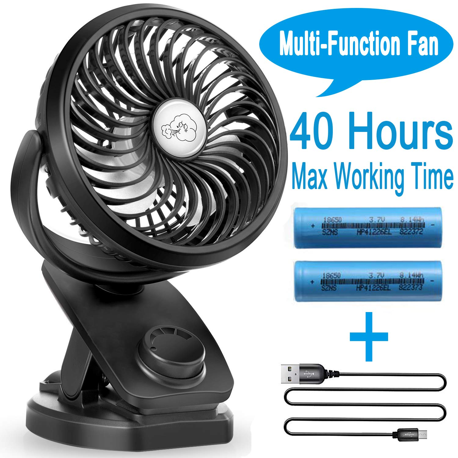 Portable Fan Clip On Stroller Fan – 40 Hours Battery Operated Mini Desk Fan with Rechargeable 4400 mAh Battery, Stepless Speeds Control, Aroma Diffuser, Powerbank Function for Outdoor,Travel, Office