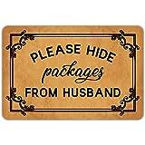 """Front Door Mat Welcome Mat Please Hide Packages from Husband Rubber Non Slip Backing Funny Doormat Indoor Outdoor Rug 23.6""""(W"""