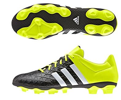 69324c52c3f36 Adidas Men's Ace 15.4 FxG Black, White and Yellow Football Shoes - 6 ...