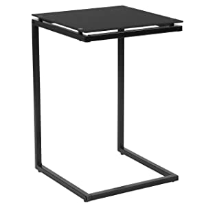 Flash Furniture Burbank Black Glass End Table with Black Metal Frame