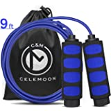 CELEMOON Lightweight Adjustable Cable Kids Jump Rope with Anti-Slip Foam Grip Handles and Storage Bag, 9 Feet, Blue