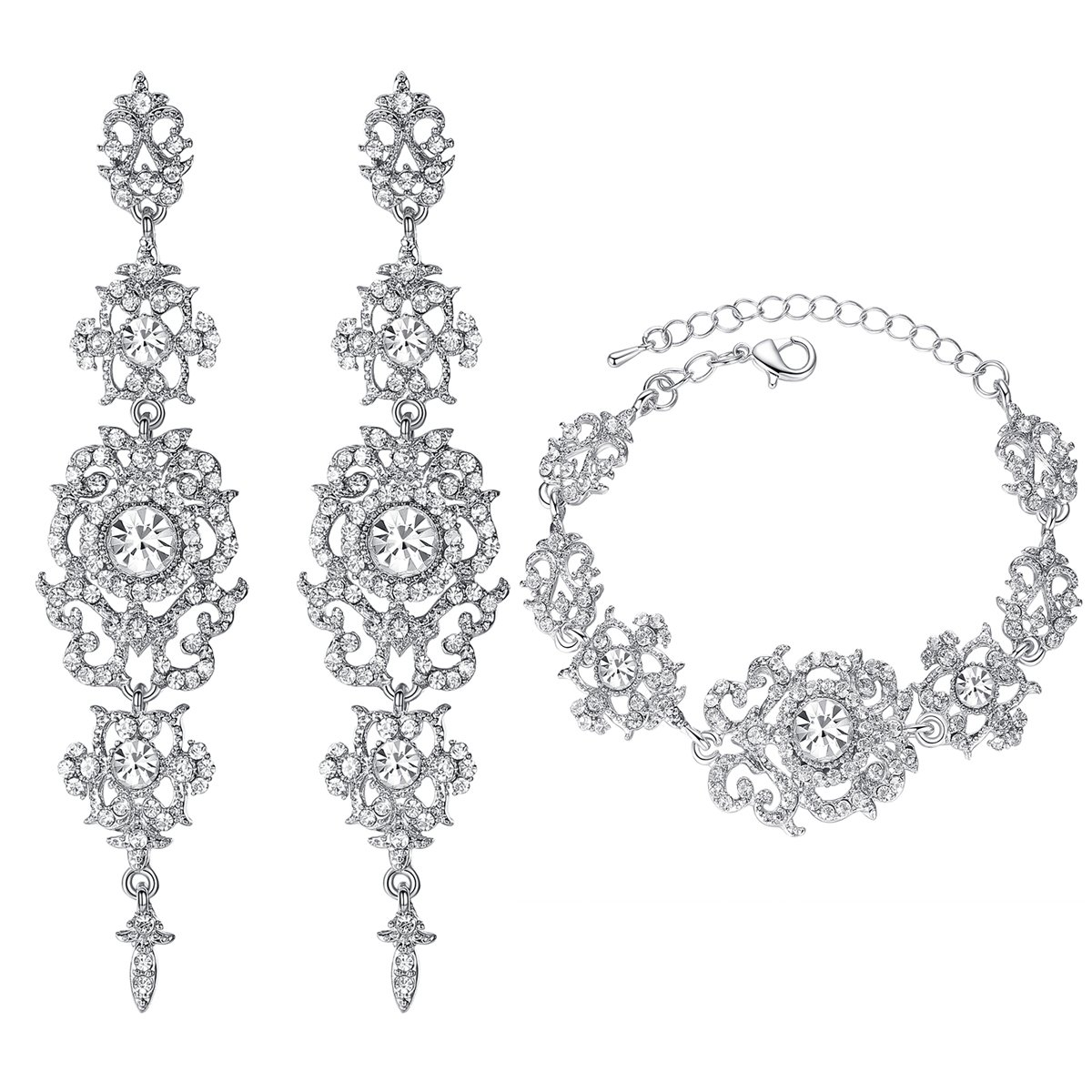 mecresh Argent mariée Longues Boucles d'oreilles et Bracelet de Tennis en Cristal autrichien parures EH182+SL031-clear