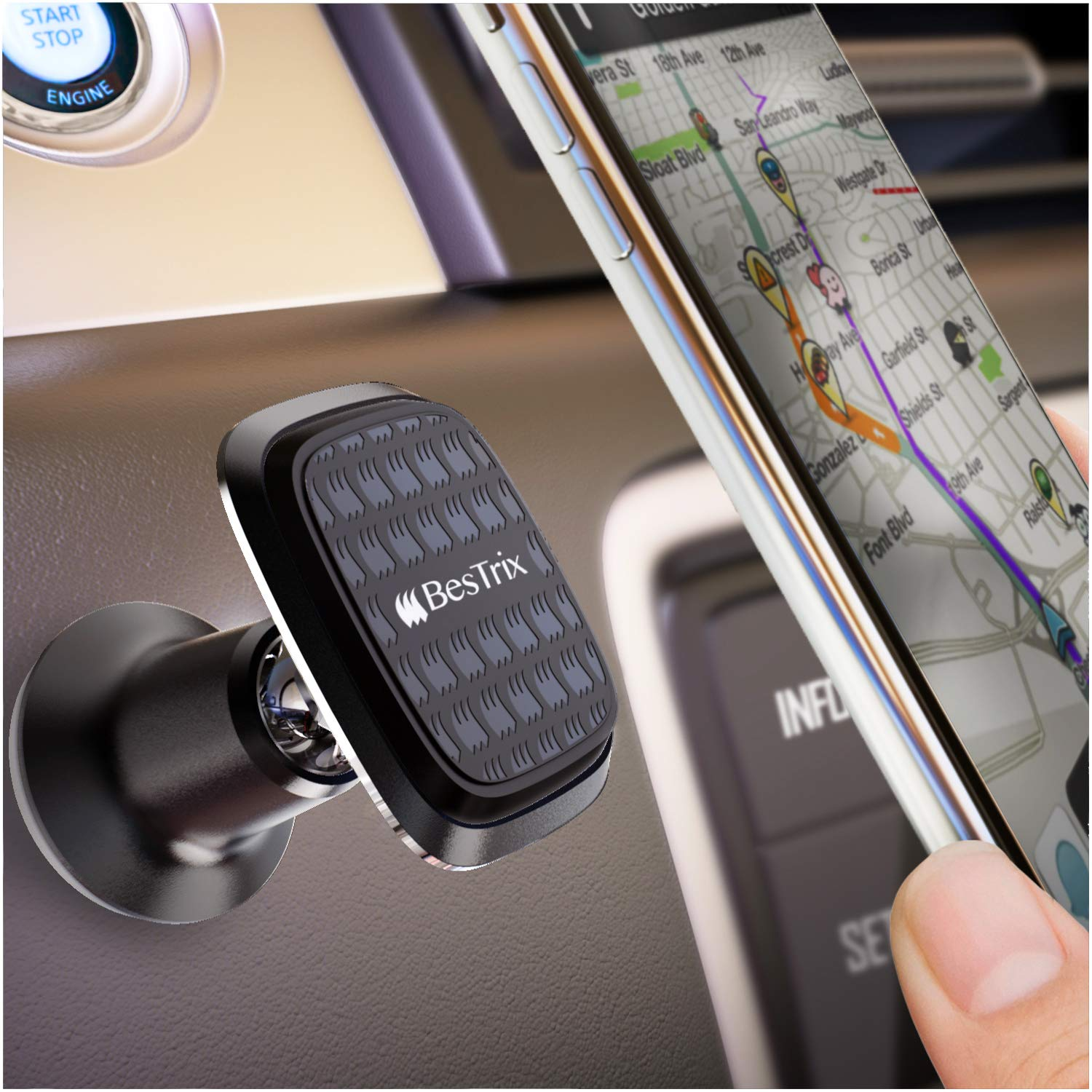 Magnetic car Mount Universal car Interior Phone Holder Compatible with All Smartphones and Mini Tablets by Bestrix (Black)