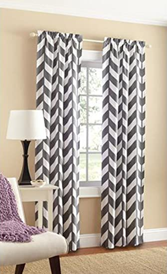 Mainstays Chevron Polyester/Cotton Curtain Panels, Set Of 2, Grey/White,