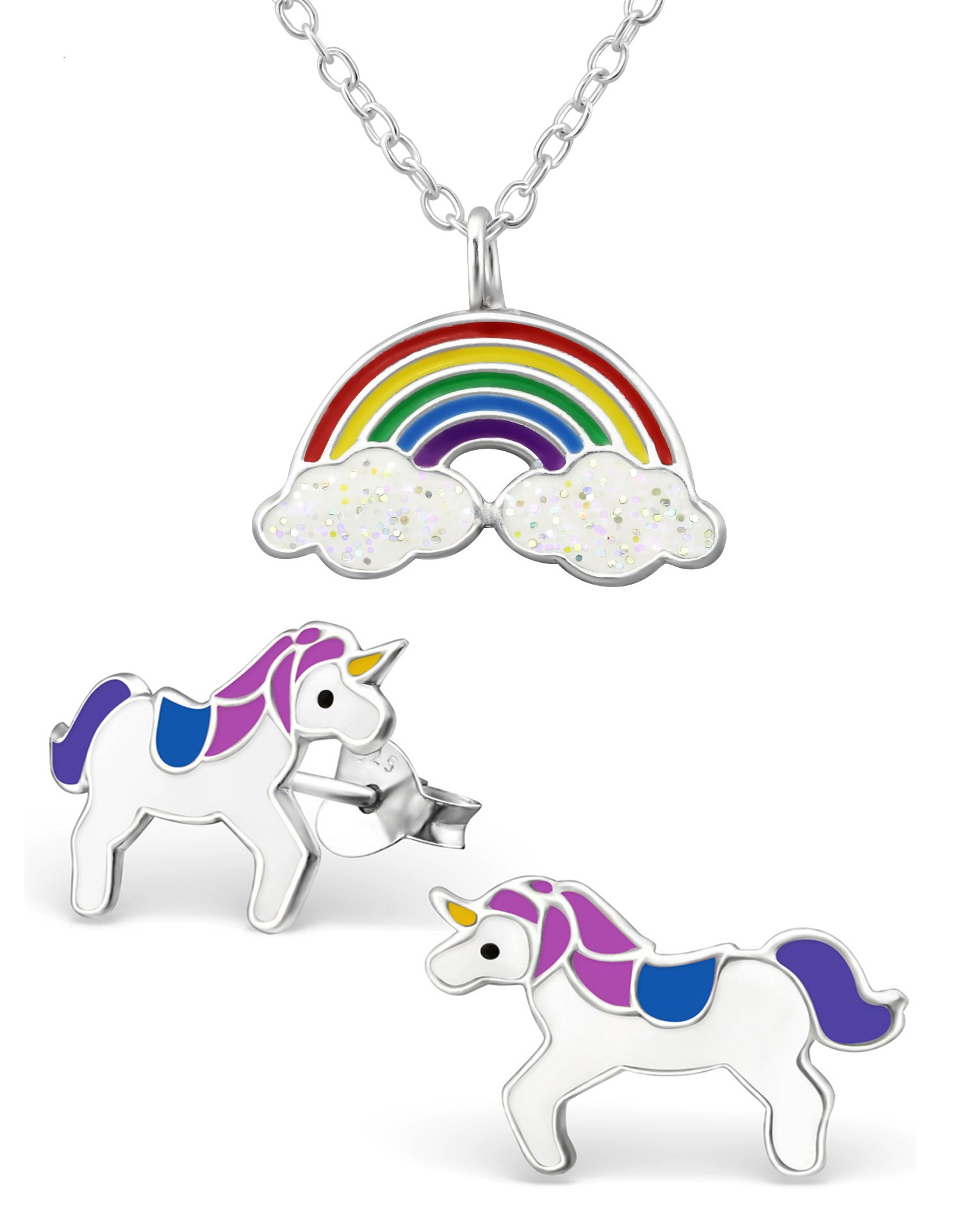 Best Wing Jewelry .925 Sterling Silver ''Rainbow and Unicorn'' Set Necklace and Stud Earrings for Children and Teens by Best Wing Children's Earrings (Image #1)