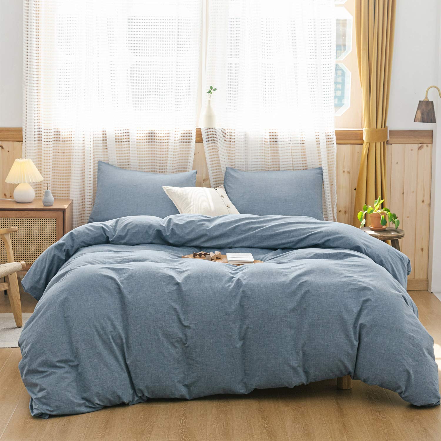 ECOCOTT 3 Pieces Duvet Cover Set 100% Washed Cotton 1 Duvet Cover with Zipper and 2 Pillowcases, Ultra Soft and Easy Care Breathable Cozy Simple Style Bedding Set (Mineral Blue, Queen)