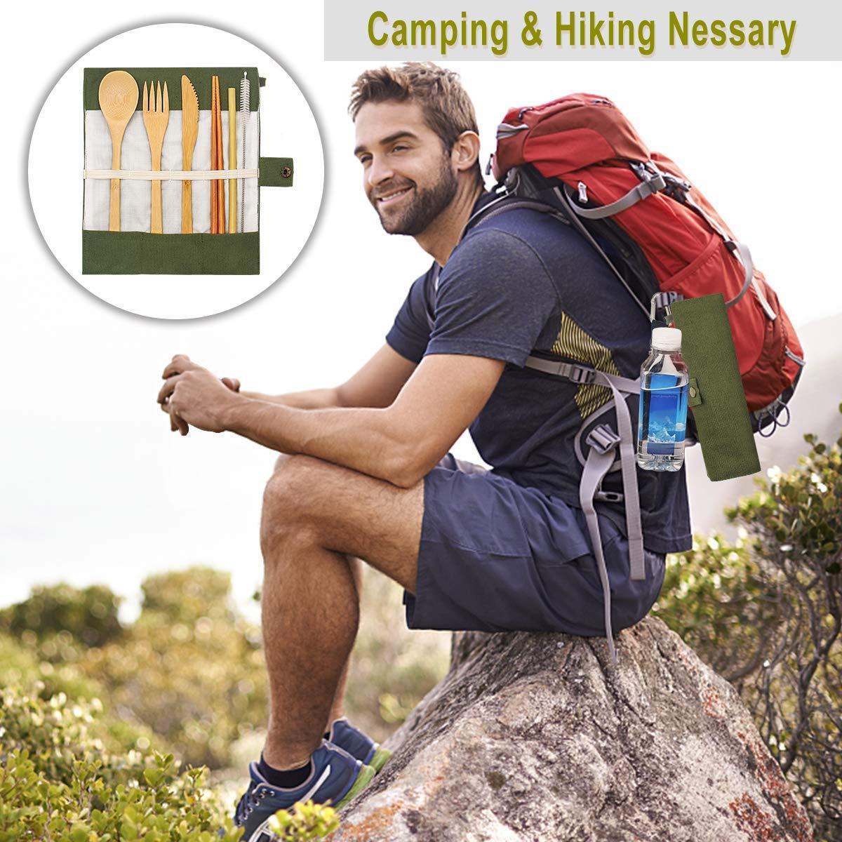 campeggio Adatto per viaggi posate in legno posate Campeggio con Borsa 2 Set Posate di bamb/ù