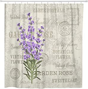 ArtSocket Shower Curtain Green Provence The Lavender Elegant Vintage for Label Flowers Home Bathroom Decor Polyester Fabric Waterproof 72 x 72 Inches Set with Hooks