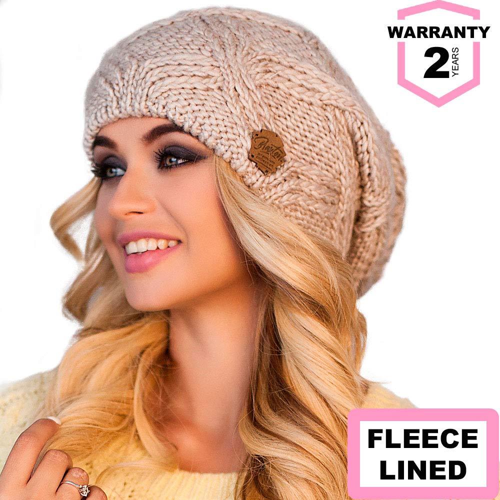 54b13174a87 Braxton Hats Women - Warm Soft Fleece Knit Slouchy Beanie - Wool Winter Cap  4366 Black