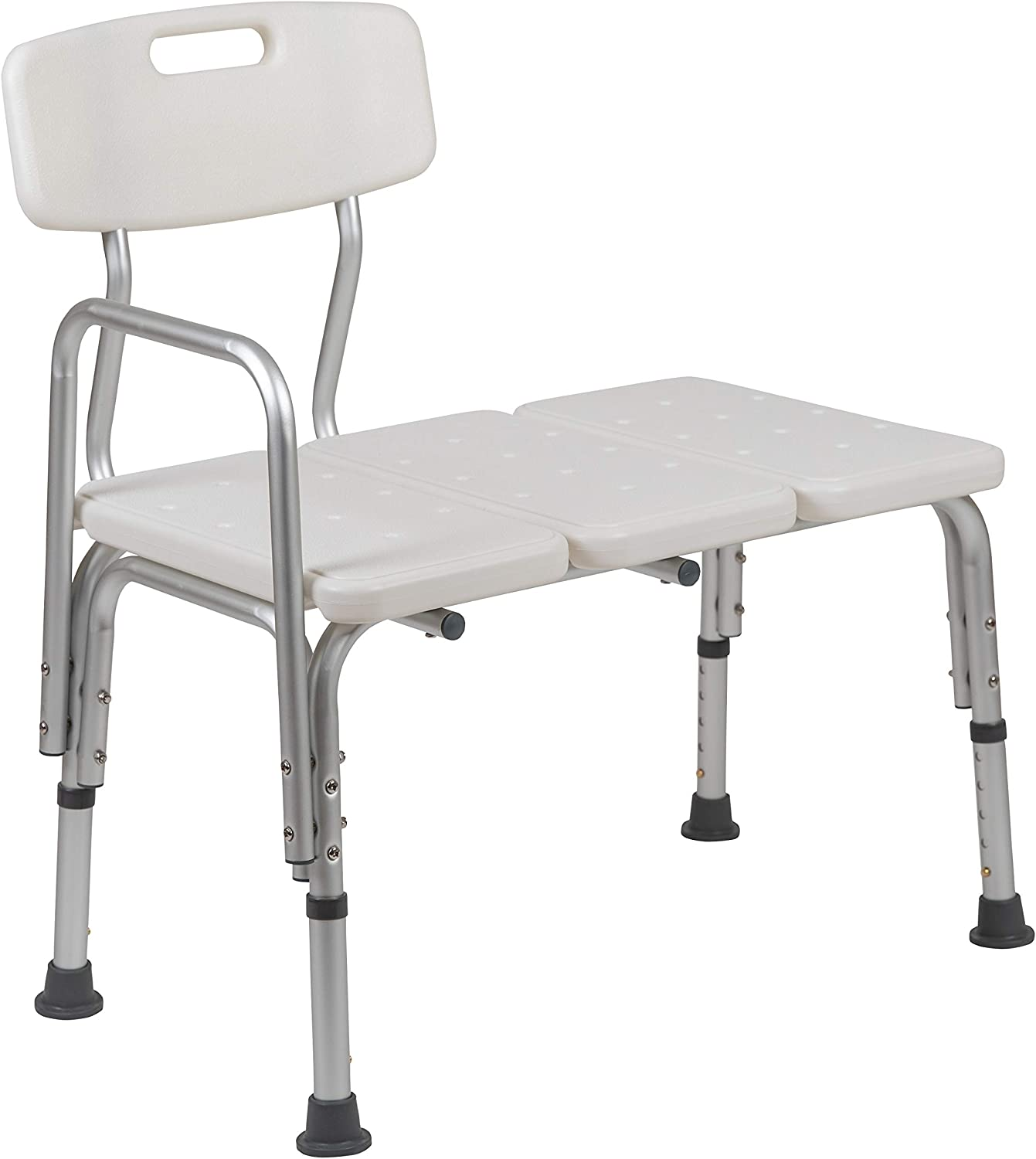 Flash Furniture HERCULES Series 300 Lb. Capacity Adjustable White Bath & Shower Transfer Bench with Back and Side Arm