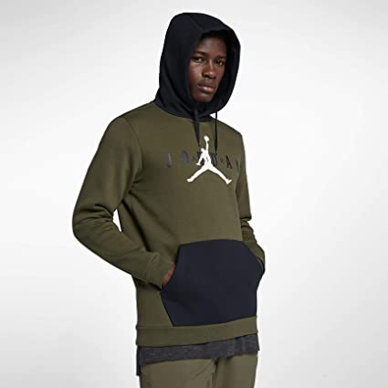 Nike Jumpman Air PO Sudadera, Hombre, Olive Canvas/Black/White, X
