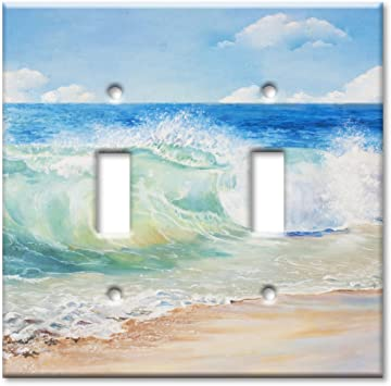Art Plates Brand Double Toggle Switch Plate Beach Painting Wall Plate