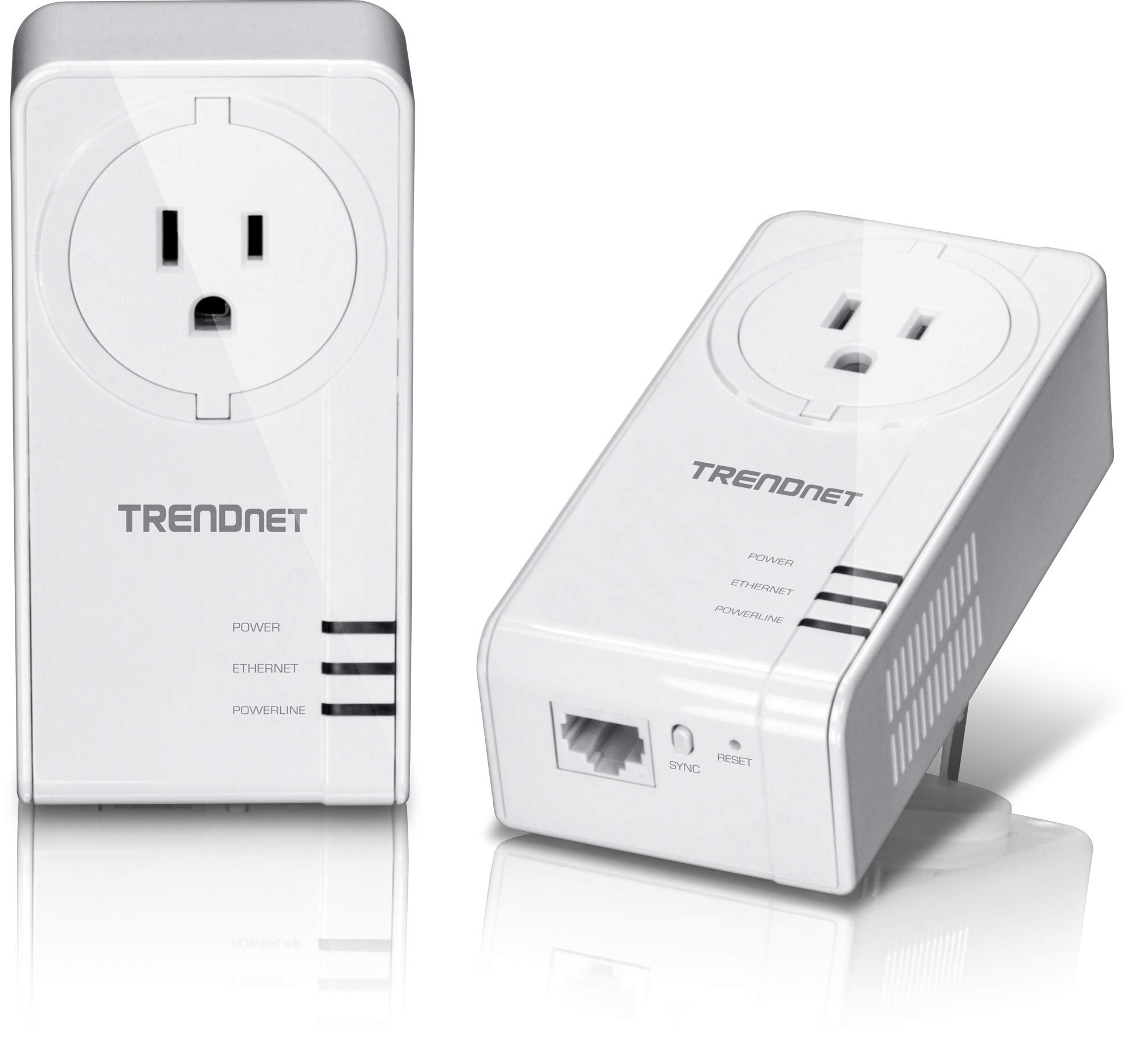 TRENDnet Powerline 1300 AV2 Adapter with Built-in Outlet Adapter Kit, Includes 2 x TPL-423E Adapters, IEEE 1905.1 & IEEE 1901, Gigabit Port, Range Up to 300m (984 ft.), TPL-423E2K by TRENDnet