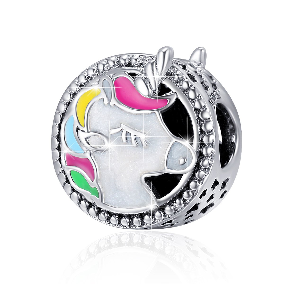 BAMOER 925 Sterling Silver Unicorn Charm Bead Enamel Charm Fit Bracelet Necklace Perfect Jewelry For Women Girls by BAMOER (Image #2)