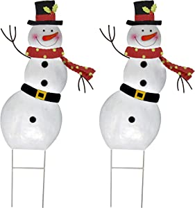 Christmas Snowman Stakes Metal Yard Decor Set of 2 Holiday Outdoor Garden Stake Decorations 3D Snowmen Welcome Decorative Sign for Lawn Pathway Walkway Driveway Home Accent Party Supplies Accessories