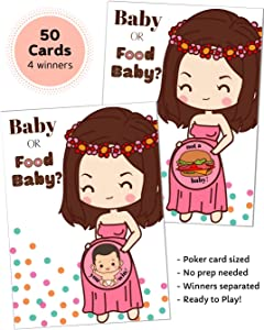 50 Baby Shower Game Scratch Off Lottery Tickets | Diaper Raffle Card Game | 4 Winner | Door Prizes | Ice Breaker | Fun Party Game | Girl Boy Neutral Gender Reveal | Baby or Food Baby | HappiBox (Pink)