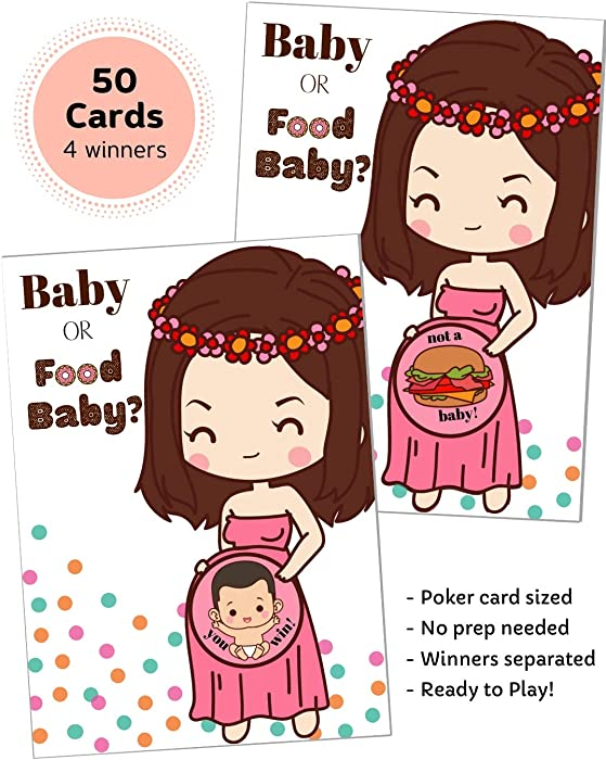 50 Baby Shower Game Scratch Off Lottery Tickets   Diaper Raffle Card Game   4 Winner   Door Prizes   Ice Breaker   Fun Party Game   Girl Boy Neutral Gender Reveal   Baby or Food Baby   HappiBox (Pink)