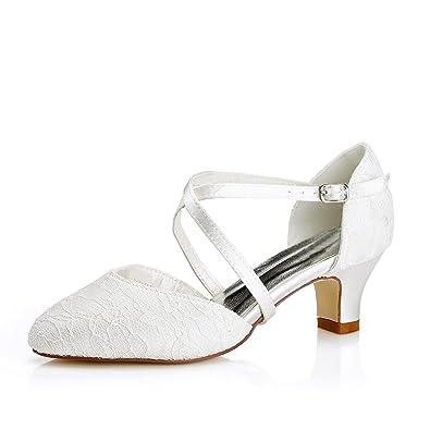 Mrs White Damen Brautschuhe 00967a Geschlossene Zehen Chunky Heel
