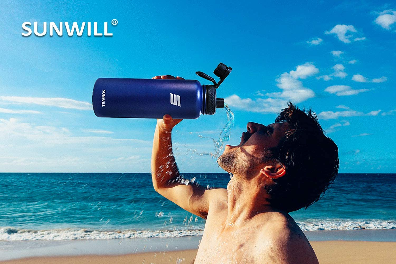 SUNWILL Water Bottle with Straw 40oz Insulated Reusable Stainless Steel Sports Bottle Wide Mouth with Leak Proof Lid Powder Coated Black Large Metal Flask