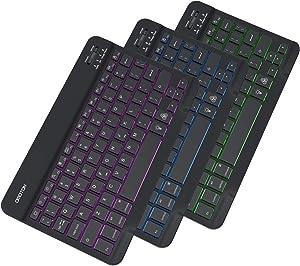 OMOTON iPad Keyboard, Wireless Bluetooth Backlit Keyboard for iPad 8th 7th Generation 10.2, iPad Pro 11/12.9, iPad Air 10.9/10.5, iPad Mini and iPhone, 7-Color Backlit/Rechargeable/Ultra-Slim