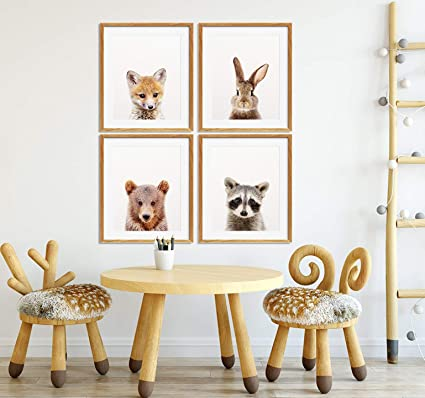 MalertaART Fox Print Baby Fox Art Nursery Animals Wall Art Woodland Animals Print Baby Animal Black White Nursery Decor Kids Room Framed Wall Art