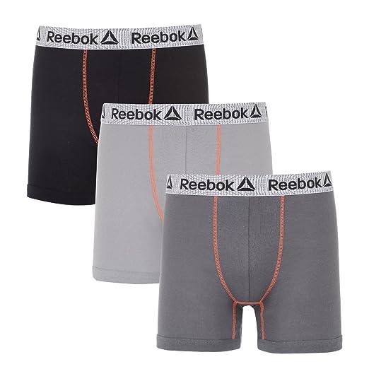 0097065a5e90b Amazon.com: Reebok Mens 3 Pack Cotton Boxer Briefs (Pouch) Black ...