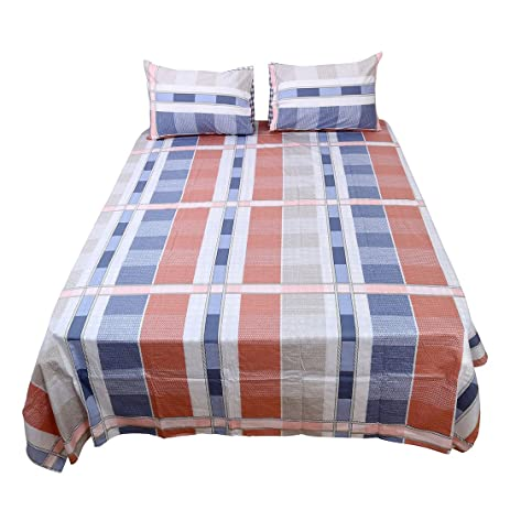 Uxcell Bed Sheets Set,100% Cotton 4 Piece Checkered Bedding Sets Fitted  Sheet