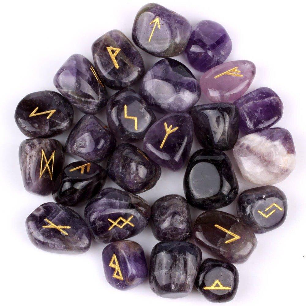 Ametista Gemstone Runes con scritta incisa e della ametista Runes con scritta incisa e sacchetto Healing Crystals India ATB2