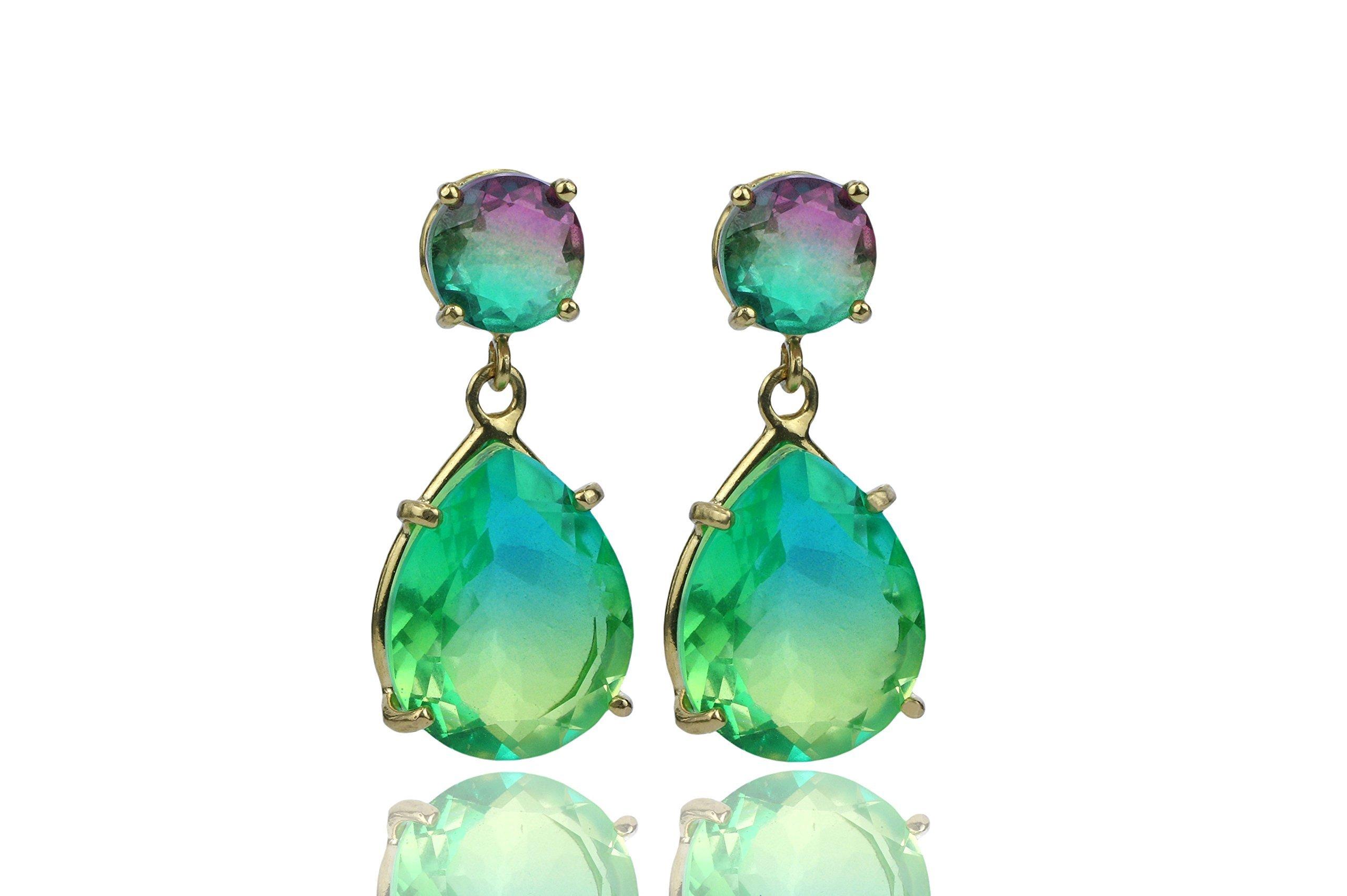 Watermelon Tourmaline Earrings,gold earrings,green tourmaline earrings,birthstone earrings,October birthstone,dangle earrings