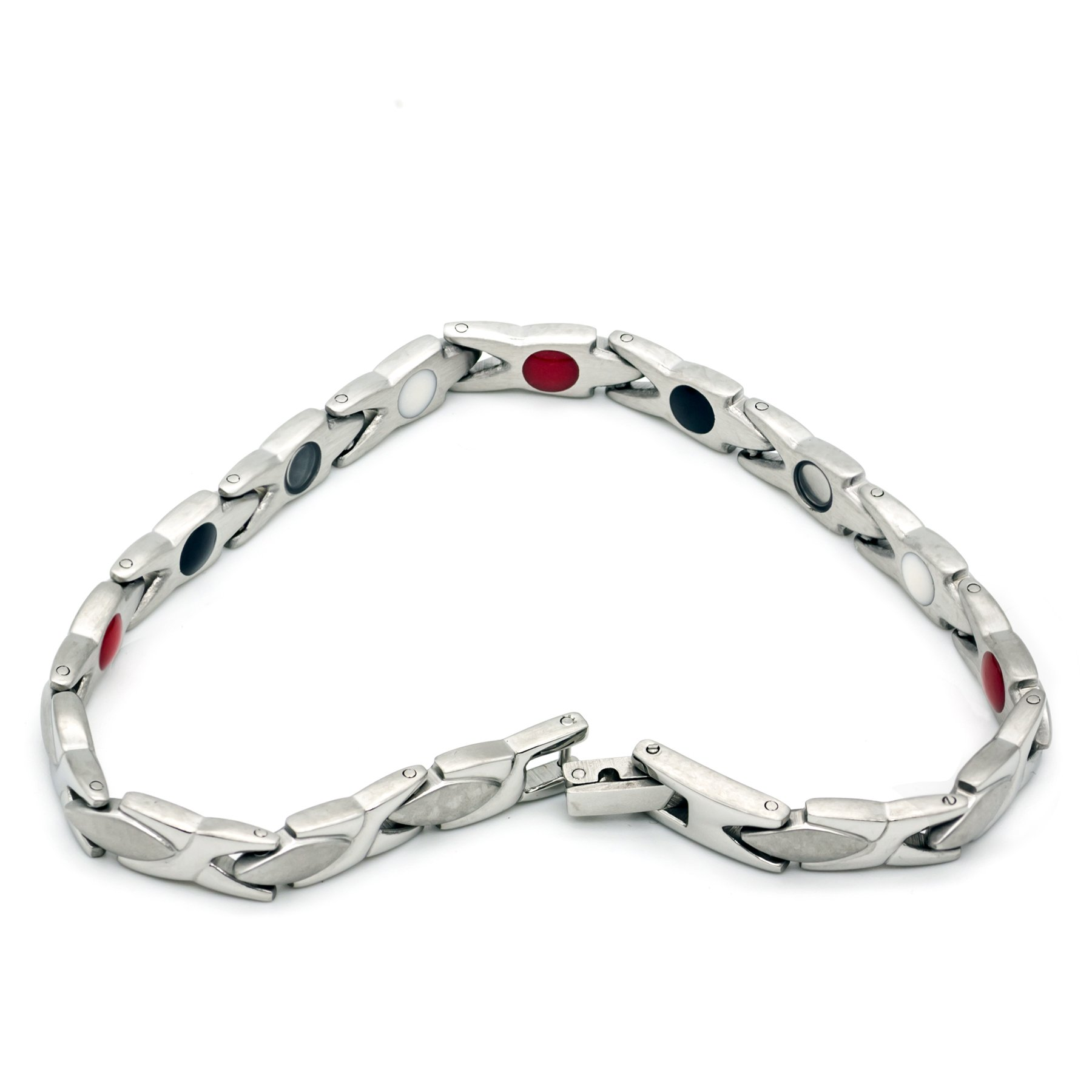 Colorful Bling Healthy Care Magnetic Stainless Steel Bio Germanium Bracelets Bangles for Women - Silver